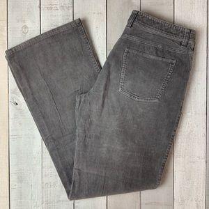 Garnet Hill gray corduroy straight leg pants